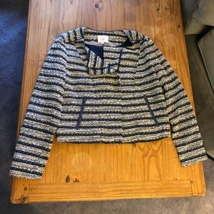 Loft Tweed Side Zipper Jacket Top
